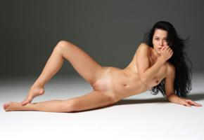 amelie b, model, babe, brunette, sensual lips, small tits, tits, pussy, shaved pussy, labia, no make up, perfect body, nude, slim, sexy babe, long hair, tanlines