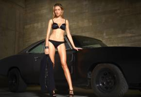 rosie, model, babe, blonde, black bra, bra, black panties, panties, lingerie, jacket, high heels, car, sport car, dodge charger, non nude, hi-q, lingerie series