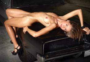 rosie, model, sensual lips, smile, tits, boobs, pussy, shaved pussy, sport car, car, dodge charger, nude, high heels