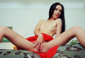 winona l, red dress, show off, tits, spread labia