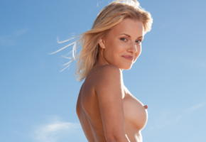 reana, beach girl, blonde, boobs, tits, hard nipples, smile, outdoors, sky
