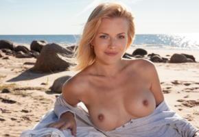 reana, beach girl, stripp, blonde, boobs, tits, hard nipples, smile, beach, sea