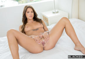 evelin stone, blacked, pussy, open house, spreading legs, meat curtains, tits, tanned, nude, bed