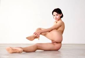 ariel, ariela, lilit a, model, babe, black hair, short hair, pussy, shaved pussy, labia, ass, legs, stilettos, nude, no make up
