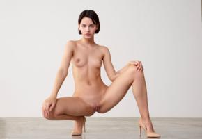 ariel, ariela, lilit a, model, babe, dark hair, short hair, small tits, open legs, pussy, shaved pussy, labia, squatting, nude