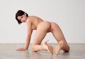 ariel, ariela, lilit a, model, babe, dark hair, short hair, back, doggy, pussy, shaved pussy, labia, ass, nude, stilettos