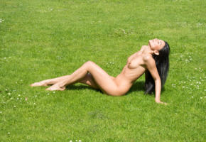adela, sexy girl, tits, nude, smile, babe, brunette, perfect girl, outdoor, grass, sexy legs