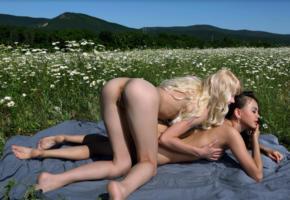 blonde, doggy, ass, pussy, labia, lesbian, grass, outdoor, flowers, teen