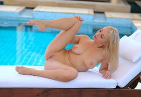 isabella d, ella c, ella, blonde, pool, naked, big tits, shaved pussy, labia, spread legs, hi-q