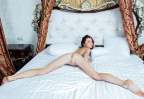 aurmi, model, babe, young, pussy, shaved pussy, labia, ass, beautiful legs, bed, bedroom, nude, leggy
