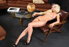 alex grey, model, pretty, babe, blonde, blue eyes, tits, boobs, nude, armchair, sofa, platform high heels, stilettos