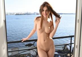 caramel, domai, long hair, cute, nude, balcony, boobs, tits, shaved pussy, smile