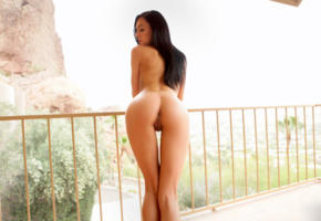marley brinx, model, pretty, babe, dark hair, beautiful, canadian, kanuk, back, pussy, shaved pussy, labia, anus, bum, ass, perfect ass, tattoo, tanned, nude, balcony, outdoors