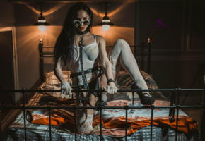 louis de navarre, legs, stocking, bed, sexy, woman, model, collar, leash, ballgag, ball gag, handcuffs, sunglasses