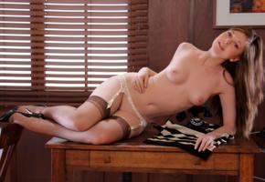 scarlett, office, erotica, stockings, ass, pussy