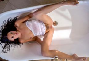 marley brinx, model, pretty, babe, dark hair, tits, boobs, shirt, wet, bush, open legs, pussy, shaved pussy, legs, leggy, polished nails, bathtub