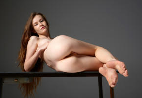 emily bloom, anne t, emily, tanya, tanya r, model, pretty, babe, brunette, long hair, pussy, shaved pussy, labia, bum, ass, graceful feet, nude, table