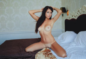 niemira, bed, sexy girl, adult model, nude, naked, nipples, pussy, brunette, shaved pussy