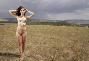 candice, sexy girl, adult model, nude, naked, nipples, pussy, outdoor, sun, brunette, shaved pussy