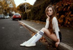 valerie kraus, model, bruntte, pretty, germany, shirt, shorts, knee socks, street, outdoors, non nude, 4k, uhd