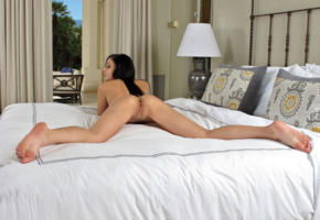 ariana marie, model, pretty, babe, dark hair, pussy, shaved pussy, labia, anus, bum, ass, legs, leggy, beautiful legs, bed, bedroom, nude, graceful feet