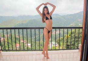 milly mendoza, cute smile, bikini, smile, brunette, balcony