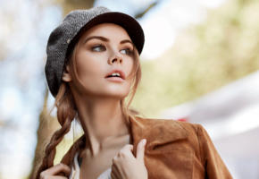 anastasia scheglova, top model, model, blonde, russian, pigtails, hat, sensual lips, beautiful, face, 4k, uhd