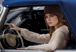 anastasia scheglova, top model, blonde, russian, pigtails, hat, beautiful, sensual lips, face, mercedes, mercedes pagoda, car