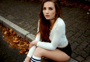valerie kraus, model, pretty, babe, brunette, germany, sensual lips, shirt, shorts, knee socks, face, 4k, uhd