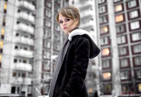 anastasia scheglova, top model, russian, jacket, sensual lips, beautiful, foggy day, non nude, 4k, uhd