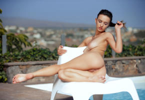 gloria sol, aaliyah, penelope y, sofieq, sofiya oleinik, model, pretty, babe, awesome, dark hair, big tits, tits, boobs, pussy, shaved pussy, labia, anus, bum, ass, graceful feet, nude, depth of field, outdoors, pool