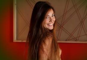 lorena b, red alert, long hair, smile, nude