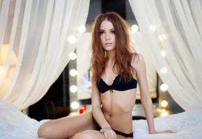 ksenia kokoreva, model, pretty, brunette, russian, black bra, bra, black panties, panties, lingerie, non nude, 4k, uhd