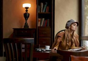 anastasia scheglova, model, pretty, russian, jacket, indoors, 4k, uhd, hat, lamp