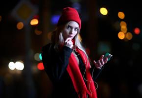 model, pretty, babe, blonde, russian, sensual lips, cap, scarf, mobile phone, cell phone, 4k, uhd, beanie