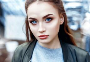 anastasia lis, model, pretty, brunette, blue eyes, russian, sensual lips, beautiful, face, 4k, uhd