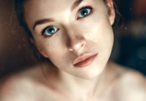 anastasia lis, model, pretty, babe, blue eyes, russian, sensual lips, face, 4k, uhd