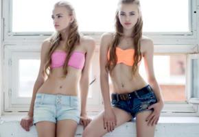 alena emelyanova, alla emelyanova, model, twins, pretty, babe, blue eyes, blonde, russian, short, bra, lingerie, non nude, 4k, uhd