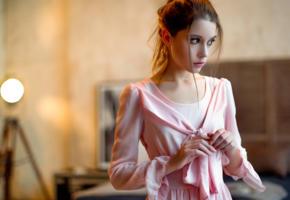 ksenia kokoreva, model, pretty, babe, brunette, russian, pink dress, dress, beautiful, face, 4k, uhd