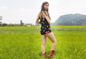 muirina, playboy plus, field, brunette cutie, brunette, boots, grass