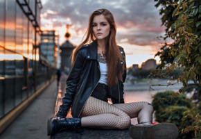 vasilisa sarovskaya, model, pretty, babe, brunette, russian, leather jacket, tattoo, shorts, fishnet, boots, moscow, 4k, uhd