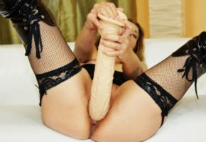 unknown, brunette, dutch, housewife, amateur, pornactress, fishnet, stockings, pvc, overknee boots, close up, lovetoy, insertion, ultra dildo, whore, enjoy, widescreen cut