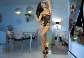 monika pietrasinska, brunette, polnish, glamour, erotic model, lingerie, open crotch, fotoshoot, mirror, reflection, long legs, high heels