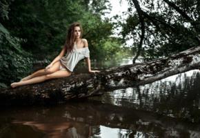 ksenia kokoreva, model, pretty, babe, brunette, undies, panties, legs, river, trunk, outdoors, nature, 4k, uhd, lingerie, georgy chernyadyev studio