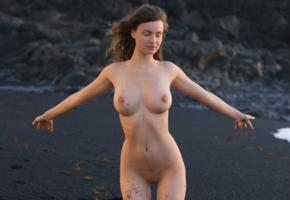 susann, tits, brunette, beach, boobs, standing, shaved pussy, smooth pussy, relaxing, black sand, bech, big tits, hottest girl