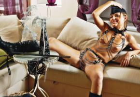 young, slim, smile, rarely covered, fetish babe, leather, cap, knee boots, shaved, whip, chains, boots, mariya, shaved pussy, tanned, tits