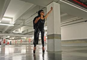 anca, brunette, romanian, amateur, shiny, tight clothes, latex, leggings, plateau heels, own fotoshoot, photoshopped