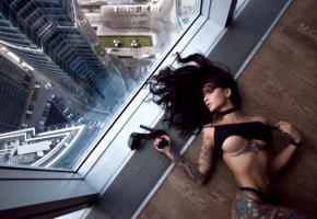 angelica anderson, model, dark hair, big tits, tits, boobs, pants, tattoo, stiletto, window, moscow, 4k, uhd, skyscraper, tattoos, body art, point of view, skyscrapers