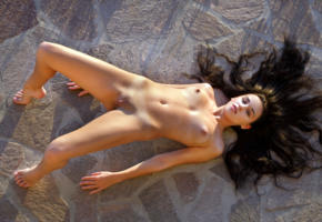sultana, brunette, outdoors, naked, tits, nipples, shaved pussy, labia, tanlines, hi-q, spread legs, franzisca, sacha, tanned