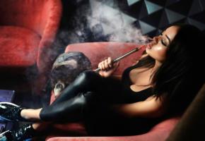 model, pretty, babe, dark hair, sensual lips, juicy lips, russian, water pipe, face, leather pants, 4k, smoke, smoking, brunette, decollete, uhd